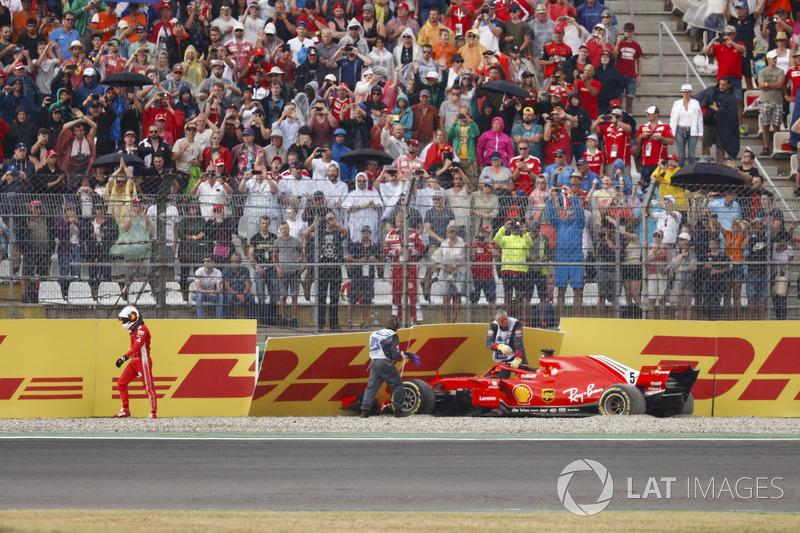 Sebastian Vettel; Ferrari SF71H crashed dans le mur