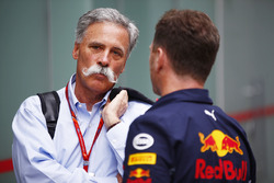 Chase Carey, Chairman, Formula One, with Christian Horner, Team Principal, Red Bull Racing