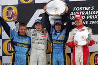 Podium: second place Kimi Raikkonen, McLaren, Race winner Fernando Alonso, Renault F1 Team, third place Ralf Schumacher, Toyota
