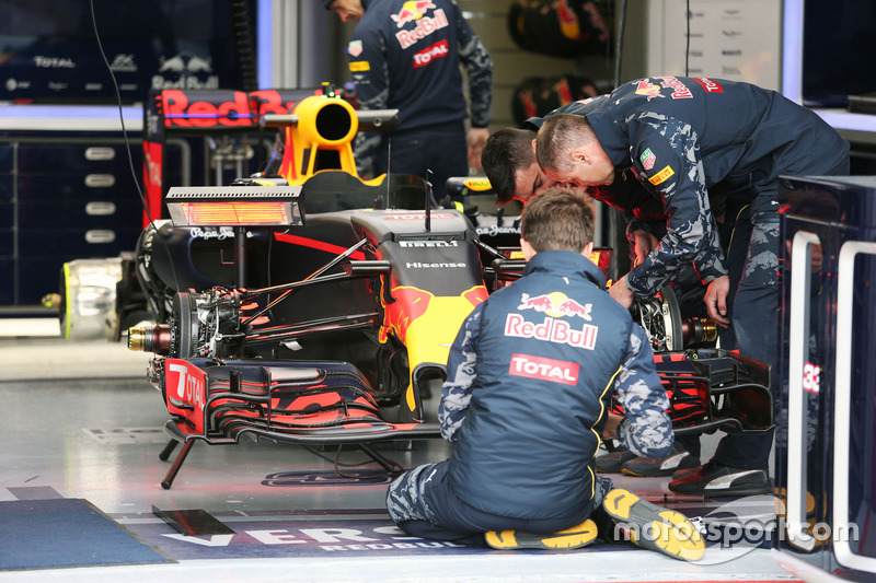 Red Bull Racing RB12 prepared in the pit garages