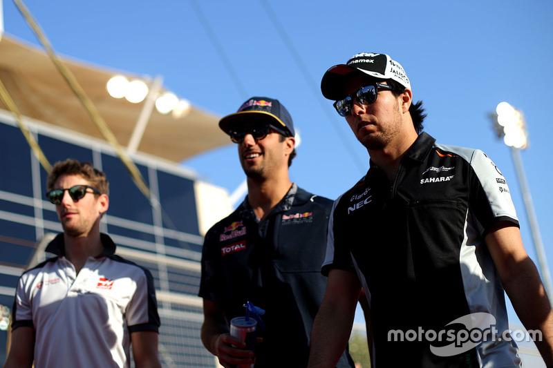 Sergio Perez, Sahara Force India F1, Daniel Ricciardo, Red Bull Racing and Romain Grosjean, Haas F1