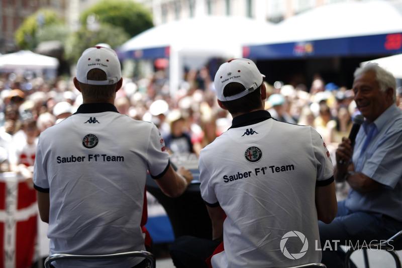 Marcus Ericsson, Sauber et Charles Leclerc, Sauber sur scène