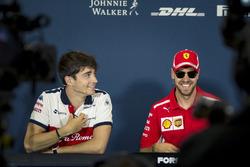 Charles Leclerc, Sauber et Sebastian Vettel, Ferrari  lors de la conférence de presse