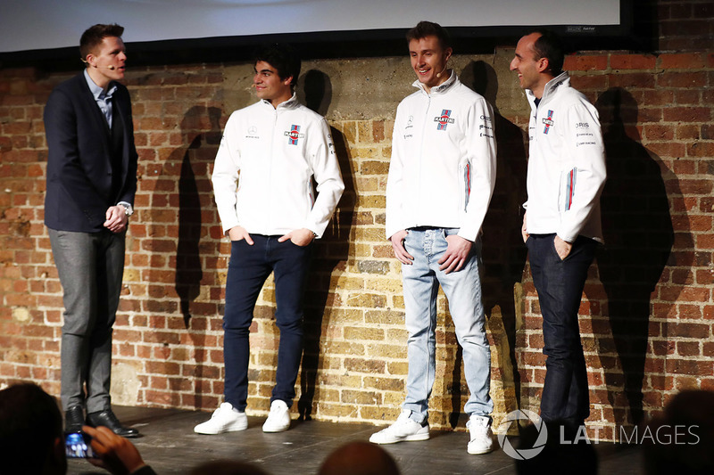 Лэнс Стролл, Сергей Сироткин и Роберт Кубица на презентации Williams FW41