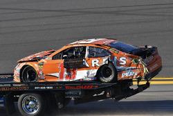Daniel Suarez, Joe Gibbs Racing Toyota shows damage after a crash