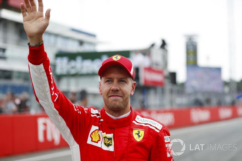 Sebastian Vettel, Ferrari, celebra su pole en Alemania