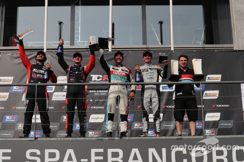 Podium: Race winner Jean-Karl Vernay, Leopard Lukoil Team Audi RS3 LMS TCR, second place Maxime Potty, Comtoyou Racing Volkswagen Golf GTI TCR, third place Mikel Azcona, PCR Sport Cupra TCR