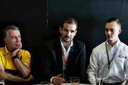 Bob Bell, Renault Sport F1 Team Chief Technical Officer; Tommaso Volpe, INFINITI Global Director of Motorsport; and Evan Sloan, INFINITI Academy Award USA Winner, at a media roundtable.