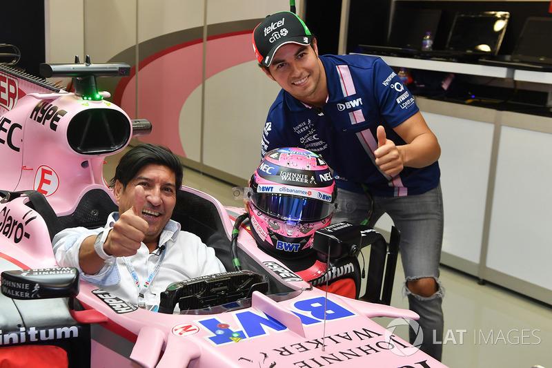 Sergio Pérez, Sahara Force India VJM10 e Iván Zamorano, exfutbolista