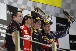 Podium: Eric Boullier, Team Principal, Lotus F1, second place Fernando Alonso, Ferrari,  Race winner Kimi Raikkonen, Lotus GP, third place Sebastian Vettel, Red Bull Racing