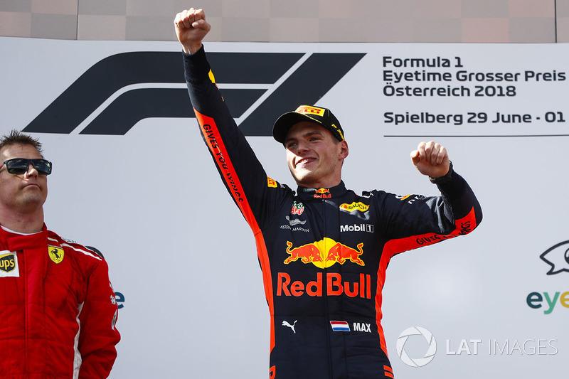 Kimi Raikkonen, Ferrari yMax Verstappen, Red Bull Racing