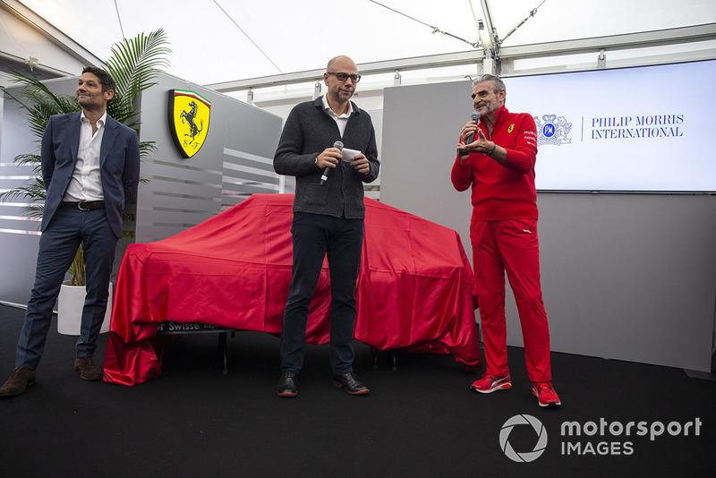 Maurizio Arrivabene, directeur de Ferrari, lors de la présentation de la nouvelle livrée
