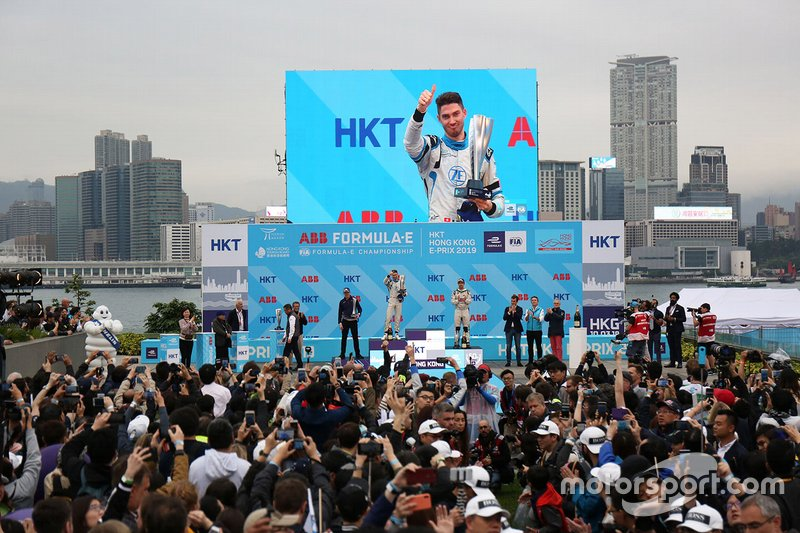 Edoardo Mortara, Venturi Formula E celebrates second position on the podium