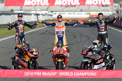 The three 2016 champions: MotoGP champion Marc Marquez, Repsol Honda Team, Moto2 champion Johann Zarco, Ajo Motorsport, Moto3 champion Brad Binder, Red Bull KTM Ajo