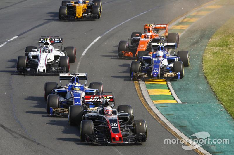 Kevin Magnussen, Haas F1 Team VF-17, Marcus Ericsson, Sauber C36, Antonio Giovinazzi, Sauber C36, Stoffel Vandoorne, McLaren MCL32, Lance Stroll, Williams FW40, y Jolyon Palmer, Renault Sport F1 Team RS17