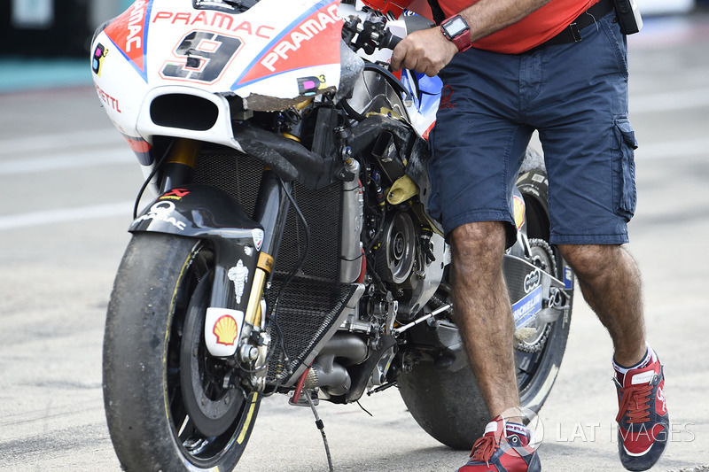 Danilo Petrucci, Pramac Racing crashed bike