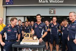 Mark Webber, Red Bull Racing, feiert seinen 200. Grand Prix