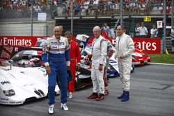 Hans-Joachim Stuck, Jean Alesi, Helmut Marko, Consultant, Red Bull Racing, Tom Kristensen and Gerhard Berger for the Legends Parade