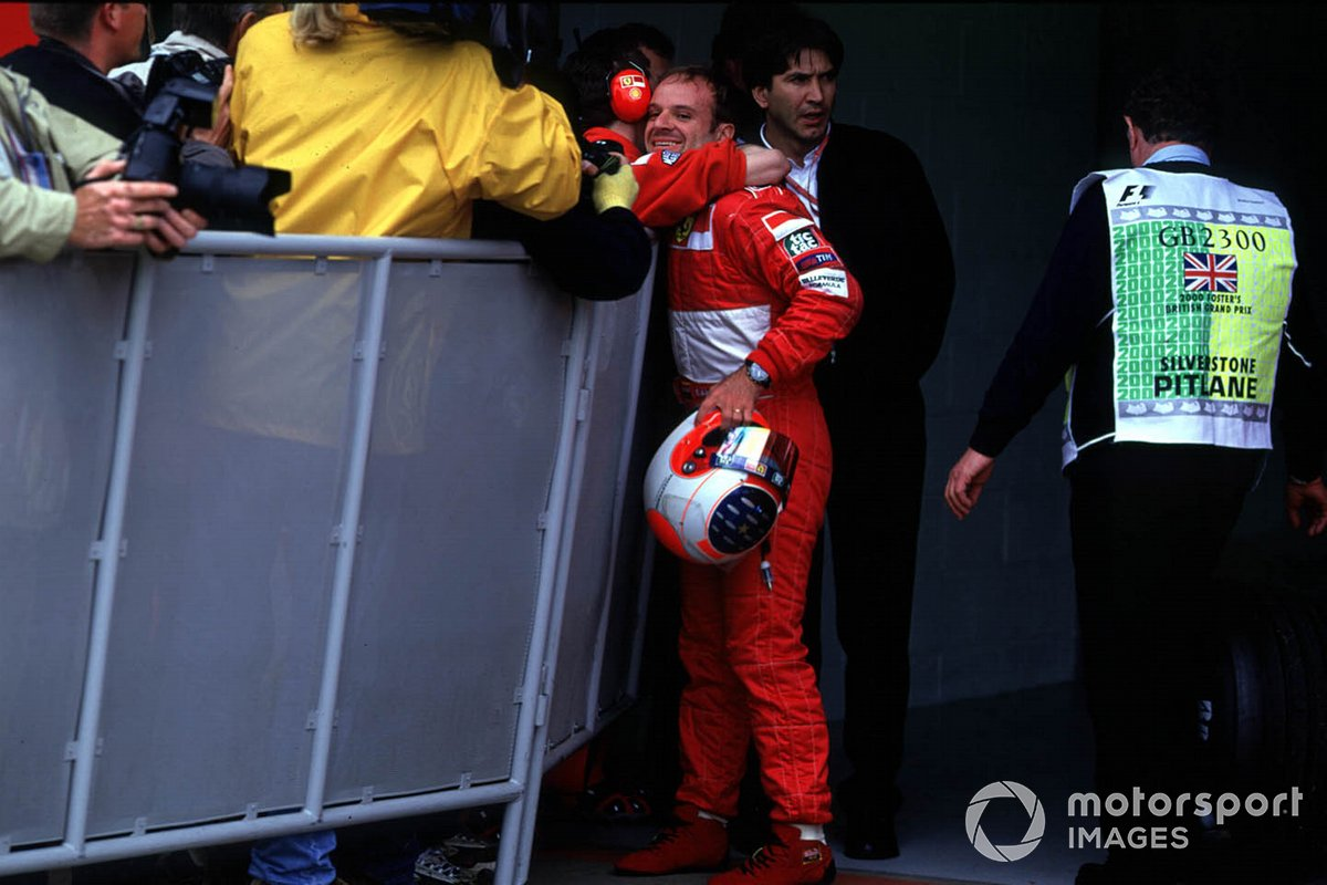 Rubens Barrichello, Ferrari claims his first pole for the Ferrari team