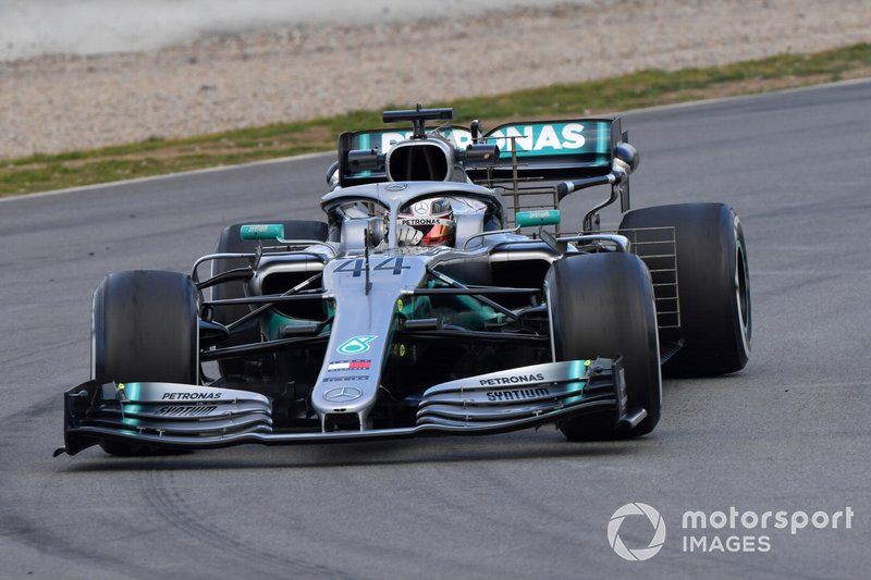 Lewis Hamilton, Mercedes-AMG F1 W10 EQ Power+ con sensori aerodinamici
