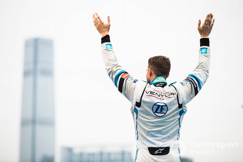 Edoardo Mortara, Venturi Formula E, 2nd position, approaches the podium