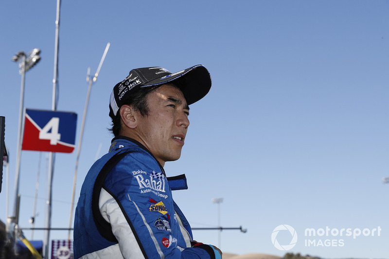Takuma Sato, Rahal Letterman Lanigan Racing Honda watches from the pit wall after retiring
