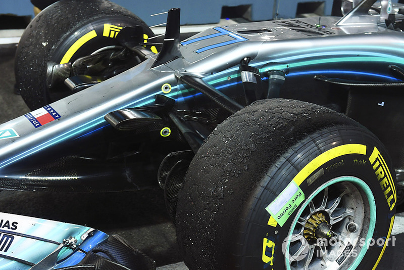 Car of Valtteri Bottas, Mercedes AMG F1 W09 EQ Power+ tyres in parc ferme