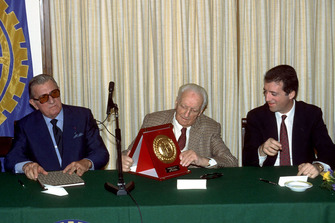 Maranello 1987, Enzo Ferrari alongside his son Piero Ferrari and the FIA President Jean Marie Balestre