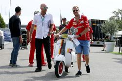 Sebastian Vettel, Ferrari and Vespa Scooter, Ferrari Livery