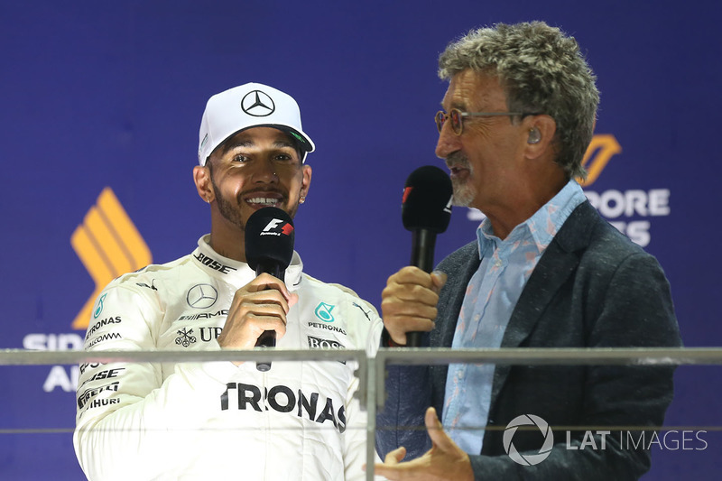 Podium: race winner Lewis Hamilton, Mercedes AMG F1,  Eddie Jordan, Channel 4 F1 TV on the podium