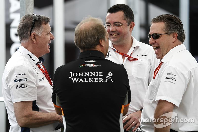 Mike O' Driscoll, Geschäftsführer, Williams; Bob Fernley, Teamchef, Force India; Eric Boullier, Renndirektor, McLaren; und Zak Brown, Geschäftsführer, McLaren Technology Group