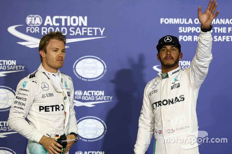 Pole Position für Lewis Hamilton, Mercedes AMG F1 Team, second place Nico Rosberg, Mercedes AMG F1 T