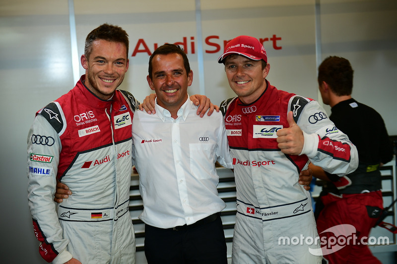 LMP1 ganadores de la pole #7 Audi Sport Team Joest Audi R18: Marcel Fässler, Andre Lotterer, Benoit Tréluyer