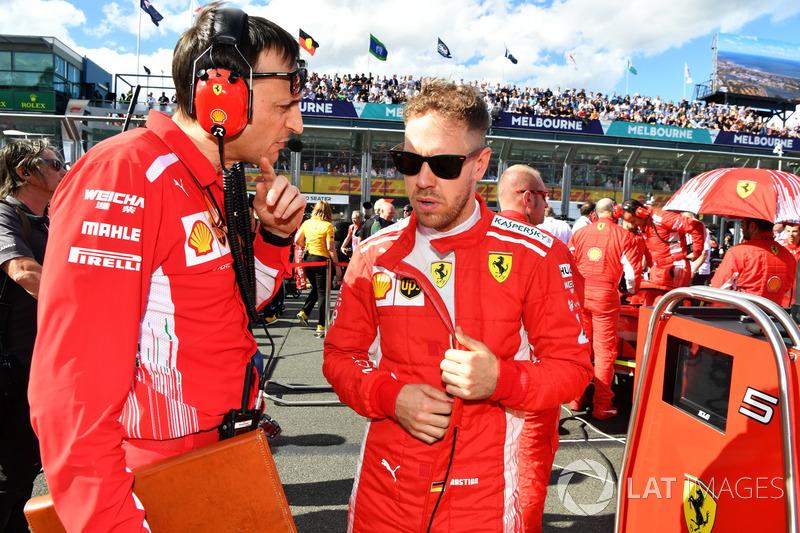 Sebastian Vettel, Ferrari and Riccardo Adami, Ferrari Race Engineer on the grid
