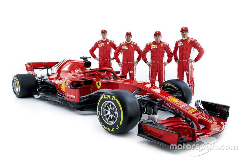 Sebastian Vettel, Ferrari, Kimi Raikkonen, Ferrari, Daniil Kvyat, development driver Ferrari, Antonio Giovinazzi, pilota di riserva Ferrari