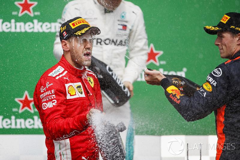 Valtteri Bottas, Mercedes AMG F1, 2nd position, Sebastian Vettel, Ferrari, 1st position, and Max Ver