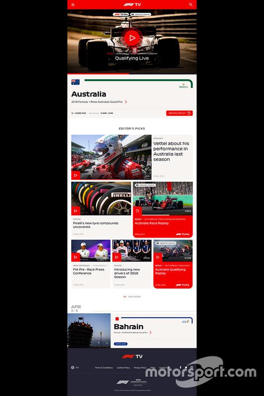 Презентация стримингового сервиса F1 TV