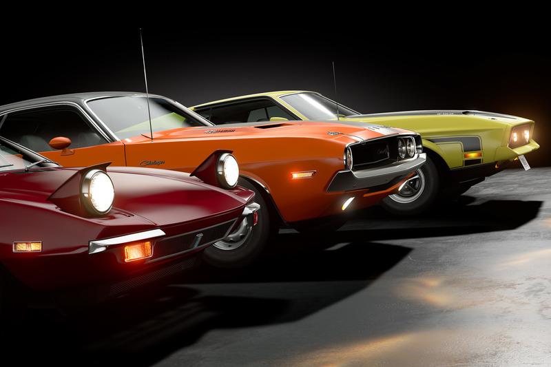De Tomaso Pantera, Dodge Challenger R/T и Ford Mustang Mach 1