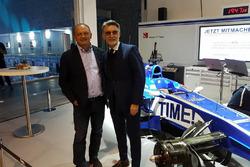 Fréderic Vasseur, Sauber F1 Teamleiter und CEO, mit Lorenzo Senna, Motorsport.com Schweiz Landesführer