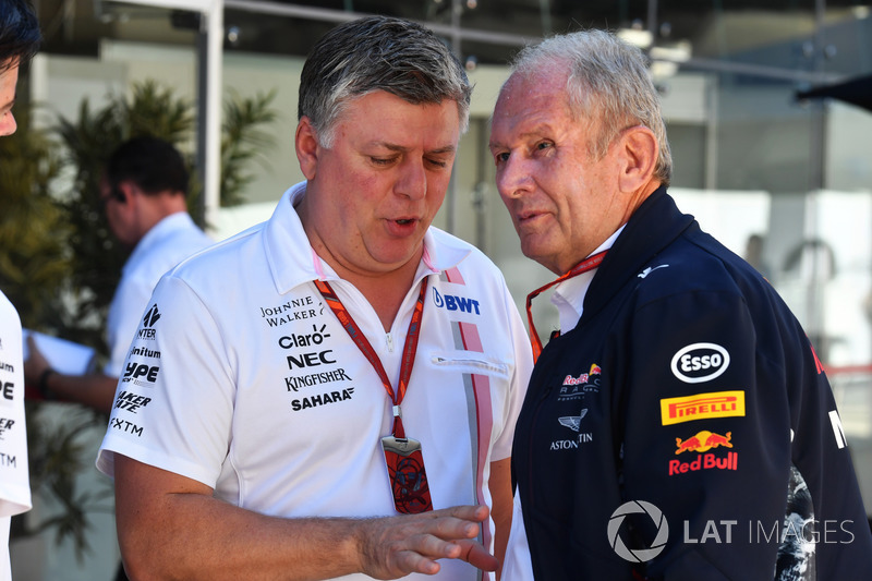 Otmar Szafnauer, Sahara Force India Formula One Team Chief Operating Officer, Dr Helmut Marko, Red Bull Motorsport Consultant