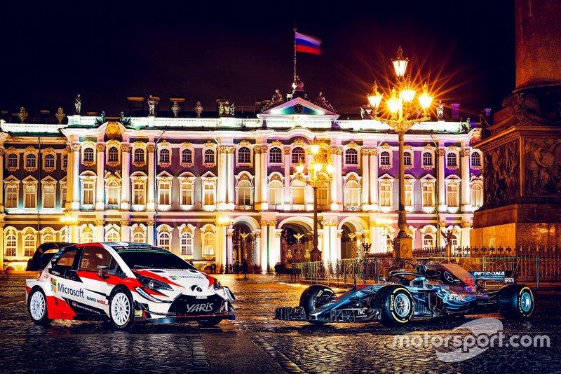 Toyota Yaris WRC и Mercedes-AMG F1 W09 на Дворцовой площади