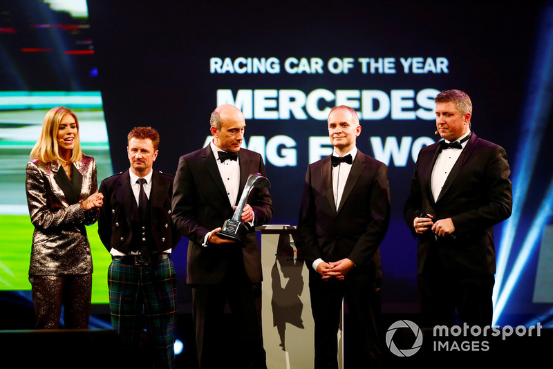 Allan McNish presents the Racing Car of the Year Award to Mercedes F1 for their Mercedes AMG F1 W09