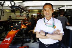 A guest in the McLaren garage