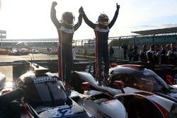 Filipe Albuquerque, United Autosports, celebrates the win with John Falb, United Autosports