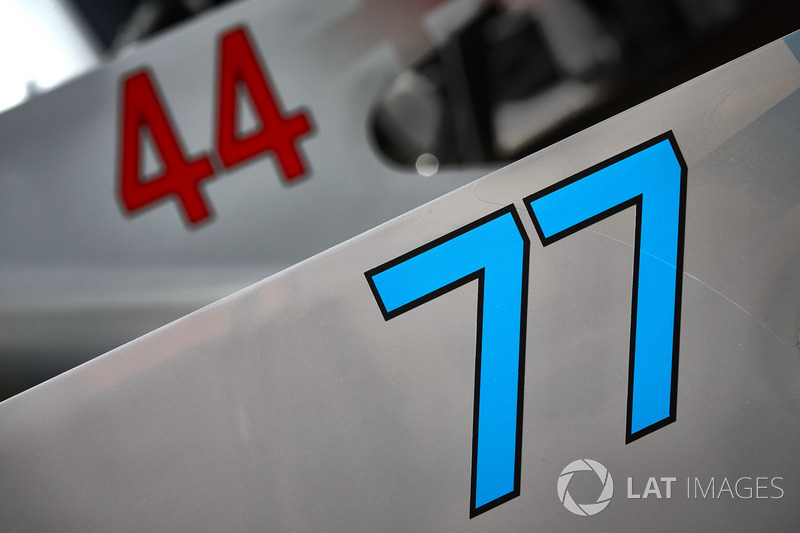 Race numbers on the cars of Valtteri Bottas, Mercedes AMG F1 W08, Lewis Hamilton, Mercedes AMG F1 W08