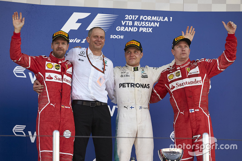 Second place Sebastian Vettel, Ferrari, Tony Ross, Race Engineer, Mercedes AMG F1, Race winner Third place Valtteri Bottas, Mercedes AMG F1 Kimi Raikkonen, Ferrari