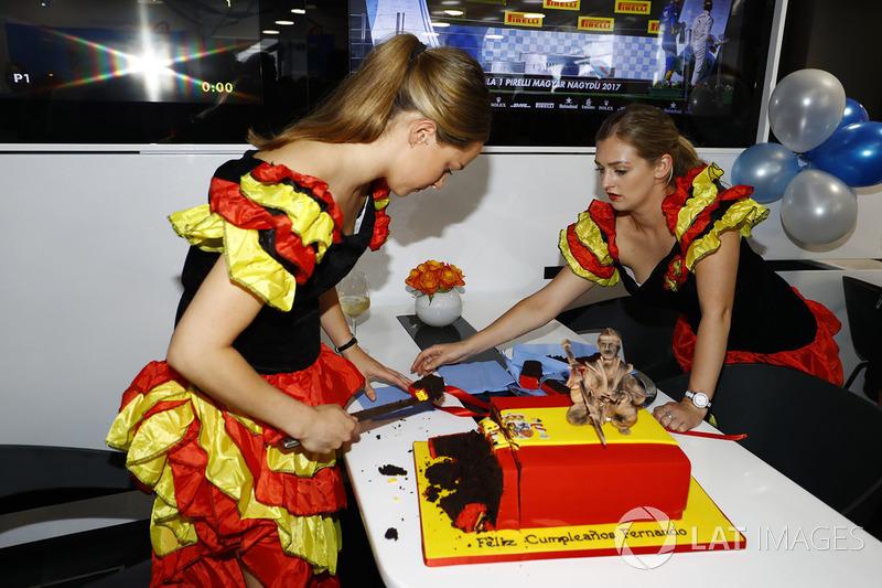 تقطيع كعكة عيد ميلاد فرناندو ألونسو، مكلارين هوندا