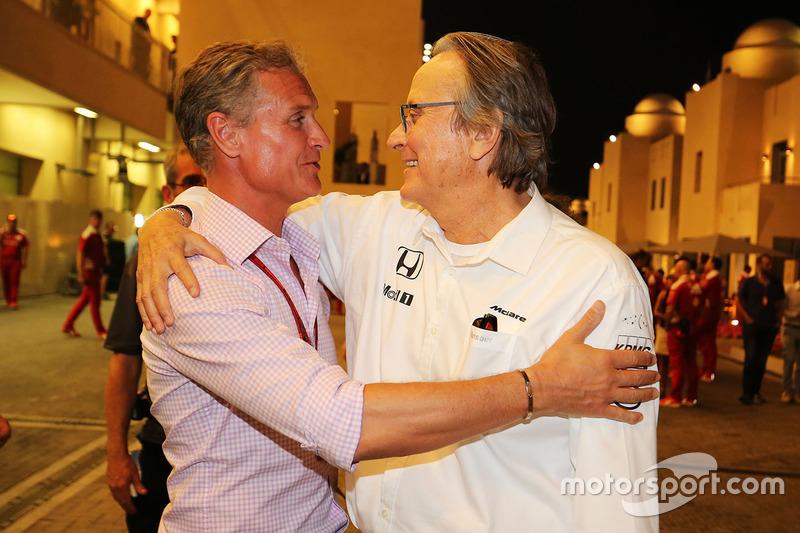 David Coulthard, Red Bull Racing y Scuderia Toro asesor / Channel4 F1 comentarista con Mansour Ojjeh