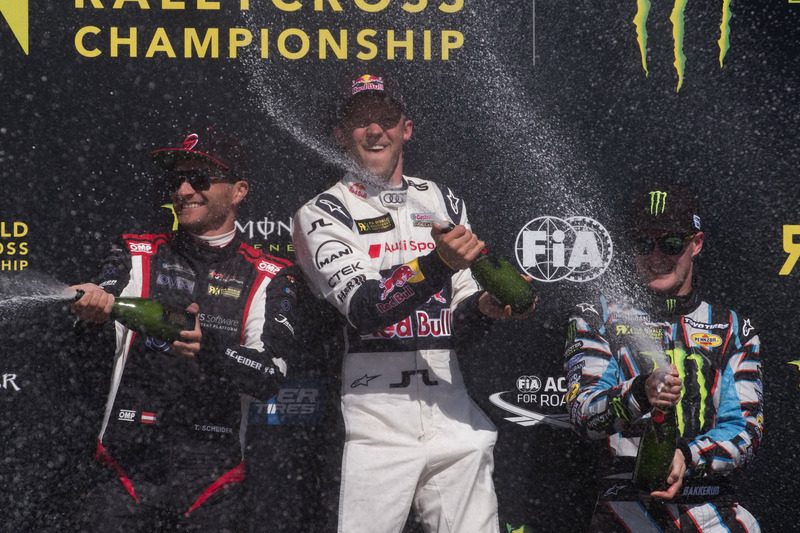 Podium: Winner Mattias Ekström, EKS, Audi S1 EKS RX Quattro, second place Timo Scheider, MJP Racing