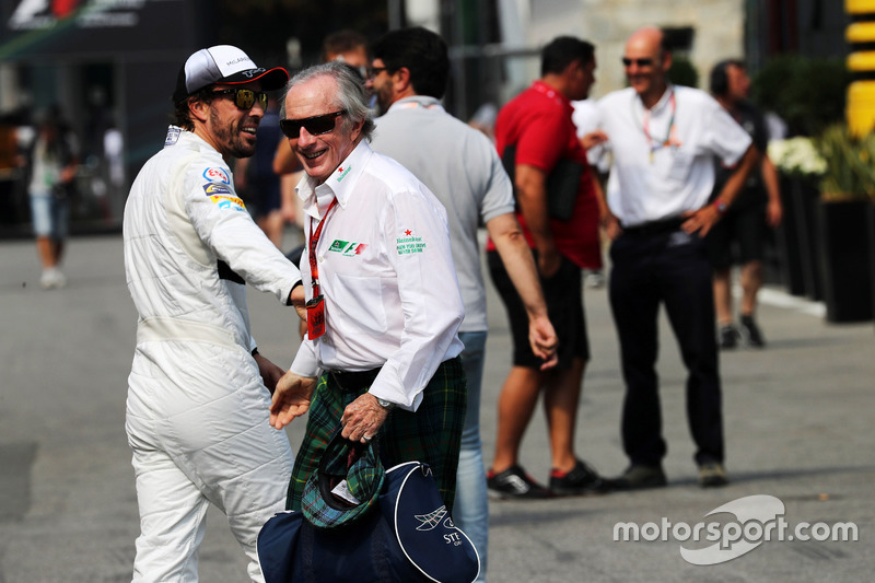 (L to R): Fernando Alonso, McLaren with Jackie Stewart